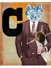 """Leslie Haines. """"C Is for Cat,"""" from """"Animal Abecedary,"""" 2014. Digital collage. 16 x 20 inches"""