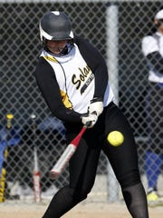 Solanco's Liz Mowrer has a big game at the plate at Solanco High School in Quarryville on Wednesday, April 13, 2016.