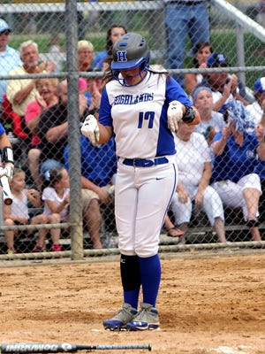 Brennah Dutcher celebrates as she crosses home plate in Highlands' Ninth Region title win over Ryle.