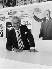 Sid Tuchman shown at the counter of the Tuchman Cleaners main plant, 4401 North Keystone Avenue.