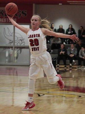 Alexandra Haar of Lakota West jumps to grab a pass that was thrown too high.