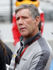 Tony George, former President and CEO of the Indianapolis Motor Speedway and Hulman & Company, following the public drivers meeting in north pit lane at the Indianapolis Motor Speedway Saturday, May 27, 2017.