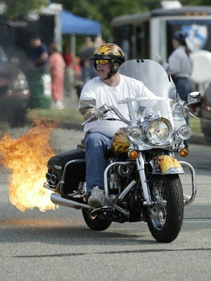 This flaming Harley spiced things up at the 2016 annual Garlic Run fundraiser in Rockaway.
