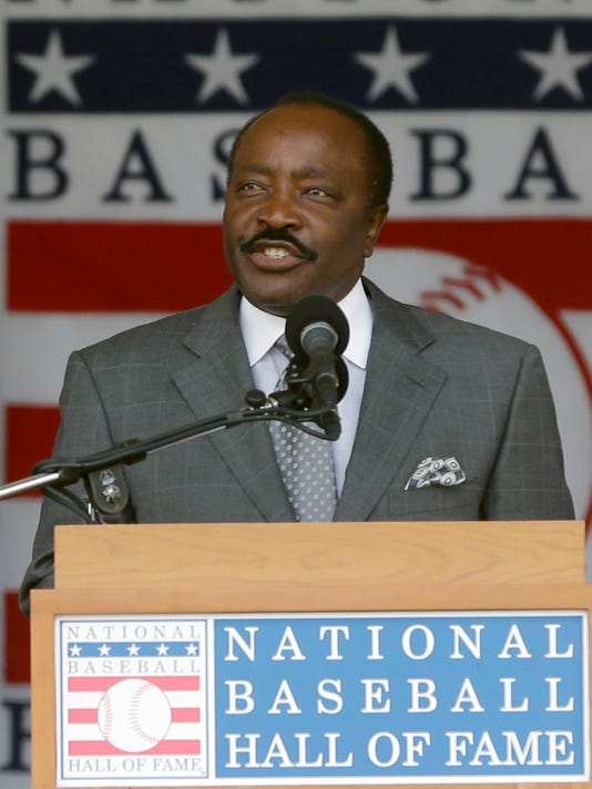 """FILE - In this July 28, 2013, file photo, Baseball Hall of Famer Joe Morgan speaks during ceremonies in Cooperstown, N.Y. Joe Morgan is urging voters to keep """"known steroid users"""" out of Cooperstown. A day after the Hall revealed its 33-man ballot for the 2018 class, the 74-year-old Morgan argued against the inclusion of players implicated during baseball's steroid era in a letter to voters with the Baseball Writers' Association of America. The letter was sent Tuesday, Nov. 21, 2017, using a Hall email address. (AP Photo/Mike Groll, File)"""