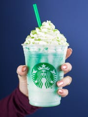 A view of the green Crystal Ball Frappuccino.