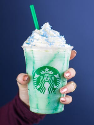 A view of the blue Crystal Ball Frappuccino.