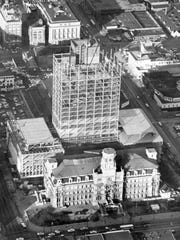 The City-County building rises behind the old Marion