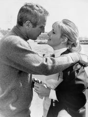 "Paul Newman and Joanne Woodward in the movie ""Winning,"""