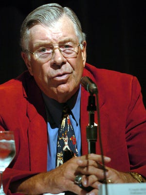 Bill Mallory,  former Indiana University coach, talked  about the Hoosiers during the Gridiron Legends Luncheon Series sponsored by the College Football Hall of Fame on  July 21, 2004 in South Bend, Ind.