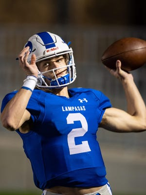Lampasas quarterback Ace Whitehead, playing in a game during his junior season last fall against Gonzales, was named Male Athlete of the Year at the Centex Best of Preps awards ceremony Thursday night.