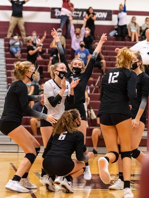 Vandegrift players and fans celebrate a win over Round Rock earlier thiis season. The Vipers clinched the District 25-6A title last week with an 11-3 district record.