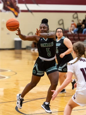 Connally's Lashiyah Fowler passes to a teammate in a game against Round Rock before the Thanksgiving break. Like fellow Pflugerville school district programs Hendrickson, Weiss and Pflugerville, Connally is in the midst of a challenging nondistrict schedule.