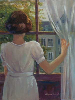 Sanibel Island artist Myra Roberts is the subject of a retrospective at Davis Art Center this season, including her work inspired by famous Holocaust victim Anne Frank.