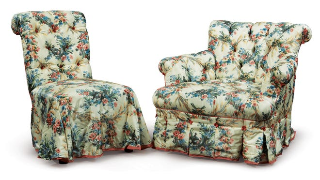 This pair of matching chairs, an example of Mario Buatta's love of floral chintz, sold for $11,250 -- more than six times the high estimate -- during the Jan. 23-24 sale of the late designer's personal collection at Sotheby's in New York.