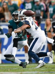 Rams cornerback Trumaine Johnson, right, breaks up a pass intended for Eagles wide receiver Alshon Jeffery during a game on Dec. 10. Johnson, a starter, is a free agent after the Rams' season ended last Saturday night.