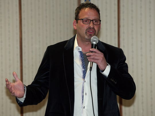 Mt Olive Mayor Rob Greenbaum speaks during the First Annual Hero's Helping Hand Dinner at the Flanders Fire Department in Support of the Wounded Warrior Project put together by local residents with 100% of proceeds being donated to the Wounded Warrior Project. February 7, 2015. Flanders, N.J.