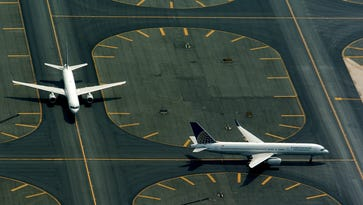 Aerials of planes on the tarmac at Newark/Liberty International Airport in Newark.