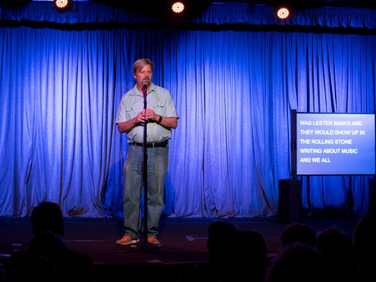 Co-Host Bill Goodykoontz introduces the next storyteller during Arizona Storytellers: Movies, Music and Me at Crescent Ballroom in Phoenix on Monday, Apr. 17, 2018.