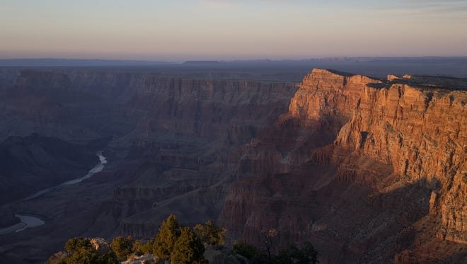 The Colorado River winds through the Grand Canyon near the Desert View Watchtower.