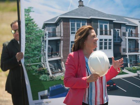 Pennsauken Mayor Betsy McBride speaks during  a groundbreaking
