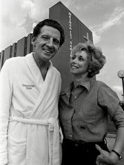 Jerry Lee Lewis with former wife, Myra, as he was being released from Methodist Hospital South August 29, 1981.