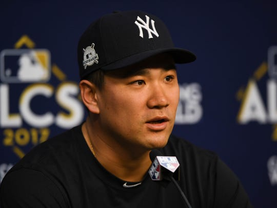 Oct 12, 2017; Houston, TX, USA; New York Yankees starting pitcher Masahiro Tanaka (19) speaks to the press during workouts at Minute Maid Park.