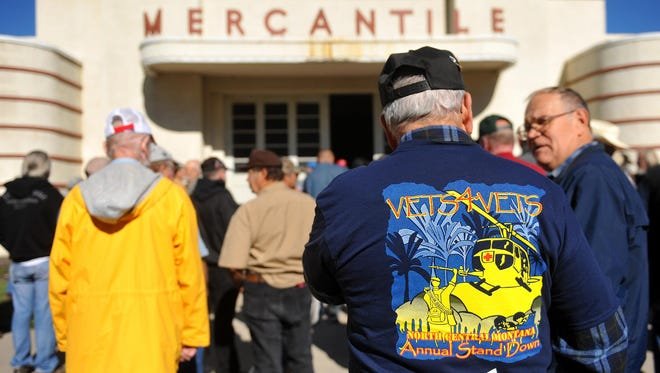 Veterans line up in front of the Mercantile Building at Montana ExpoPark for the Vets4Vets' annual Stand Down event in 2015.