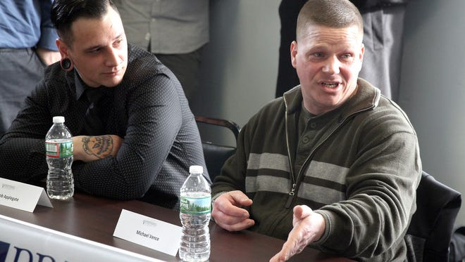 Jacob Applegate (left) and Michael Vence were among the Preferred Behavioral Health clients who shared their story with NJ Governor Chris Christie during a roundtable discussion at the Toms River, NJ, facility Wednesday, January 11, 2017.  This was held on the day after his State of the State Address that highlight addiction treatment and recovery programs.  (Photo by Thomas P. Costello / Asbury Park Press)