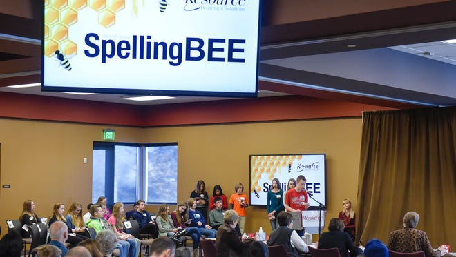 Students compete during the Central Minnesota Regional Spelling Bee on Wednesday, Feb. 8, at Resource Training & Solutions in Sartell. More than 50 students were scheduled to participate in the bee.