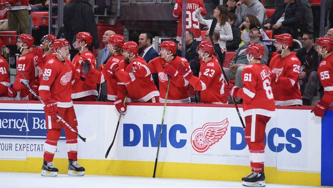 Red Wings right wing Anthony Mantha (39) celebrates his goal during the third period of the Wings' 4-3 overtime loss on Saturday, Nov. 25, 2017, at Little Caesars Arena.