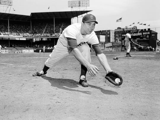 First baseman of the Brooklyn Dodgers, Gil Hodges is