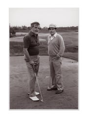 Herbert Kohler Jr. and golf course designer Pete Dye view the future site of Blackwolf Run in 1987.