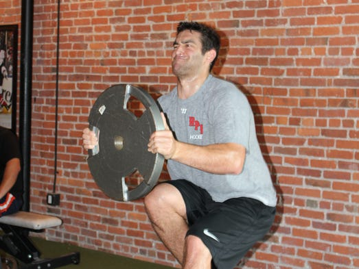 Jerry D'Amigo trains for the new hockey season at BX Strength and Speed in downtown Binghamton.
