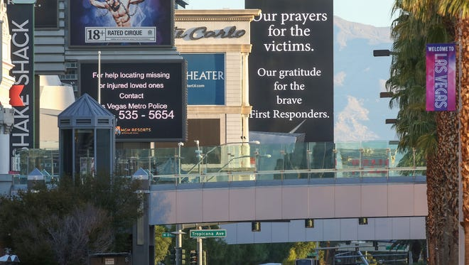 The strip in Las Vegas is closed for a stretch near the Mandalay Bay as authorities investigate the Las Vegas mass shooting, October 3, 2017.