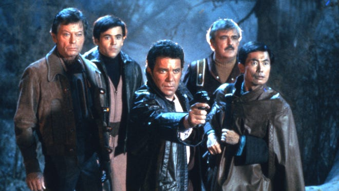 """Cast members from Star Trek: The Original Series appear in the 1984 movie """"Star Trek III: The Search for Spock."""" Pictured, from left, are DeForest Kelly, Walter Koenig, William Shatner, James Doohan and George Takei."""