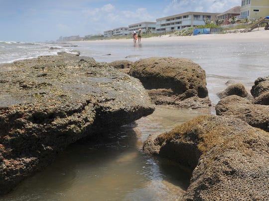 Tide pools and rocks along the shoreline near Shell Street in Satellite Beach.