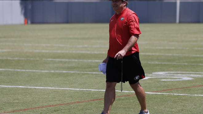 Georgia coach Kirby Smart at an NCAA football preseason practice in Athens, Ga., Thursday, Aug. 8, 2019.