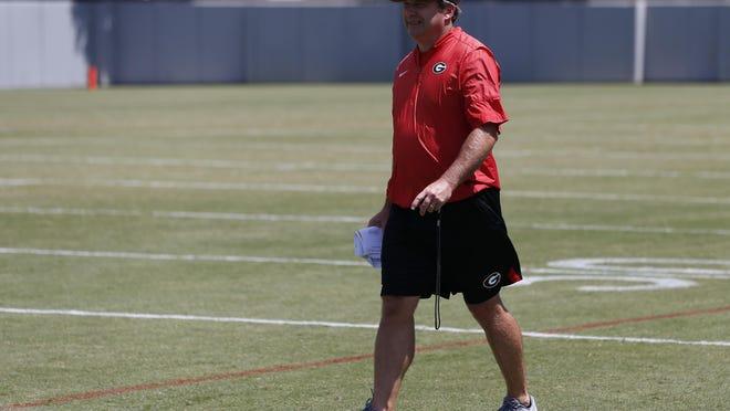 Georgia coach Kirby Smart at an NCAA football preseason practice in Athens, Ga., Thursday, Aug. 8, 2019.