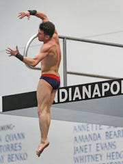 Brandon Loschiavo, from Purdue University, dives during