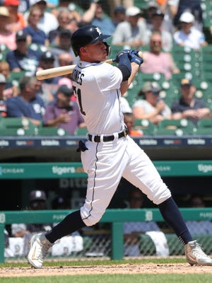 Tigers left fielder JaCoby Jones bats during the third inning on Thursday, June 14, 2018, at Comerica Park.