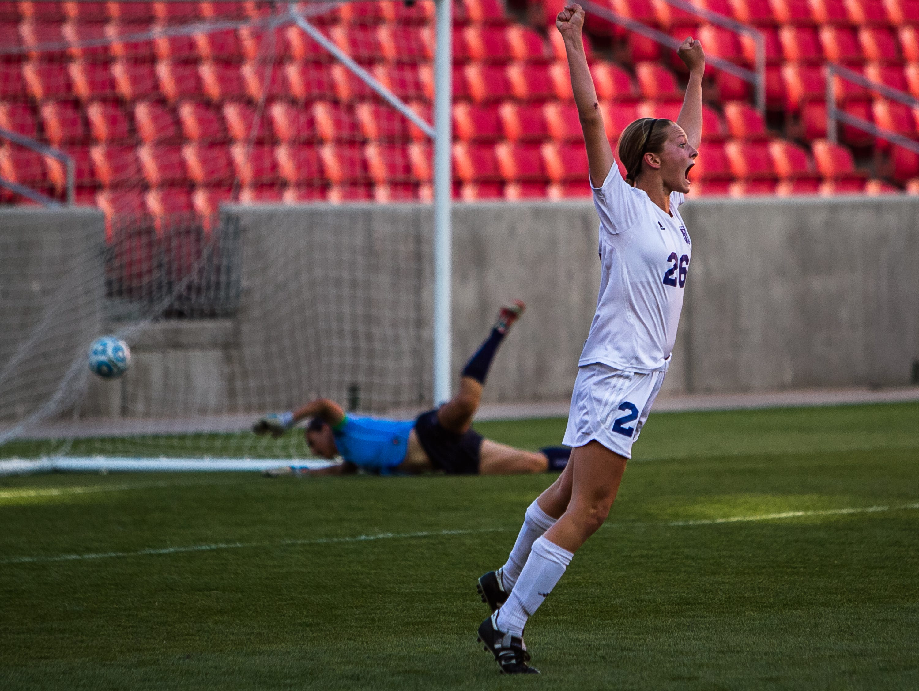 Dixie's Elizabeth Durrant celebrates as a freshman two years ago against Juan Diego during the Flyers' state championship run.