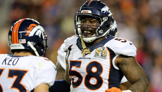 Denver's' Von Miller (58) celebrates a sack/strip with teammates on Sunday. The Baltimore Ravens will need more players such as Miller if they are to succeed next season.