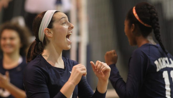 Maclay's Siena Kole reacts as her team scores a point against Lincoln. The Marauders are in a 4A state semifinal match Saturday at Orlando First Academy.