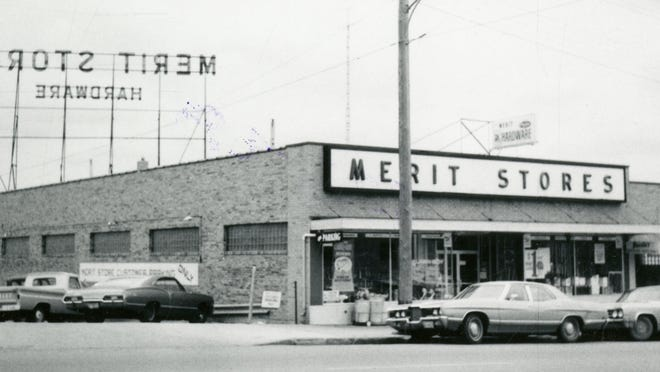 Merit Hardware at 909 E. Eighth St. was built in 1945. Photo likely taken in 1960s.