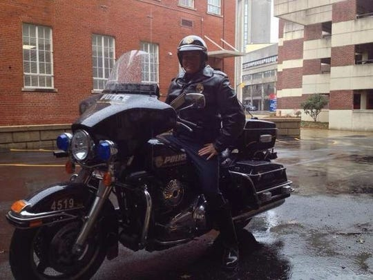 Amanda Millwood was the first female to join the Montgomery Police Department's motorcycle unit.