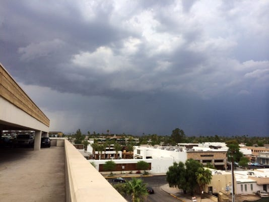 View from parking garage in downtown scottsdale, July 15, 2014. Lindsay Menoes