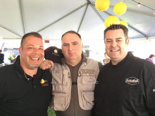Celebrity chef and World Central Kitchen founder Jose Andres poses with Ventura County chefs Jason Collis, left, and Tim Kilcoyne, right, during the Thomas Fire Benefit Festival that took place Feb. 2, 2018, in Ventura.