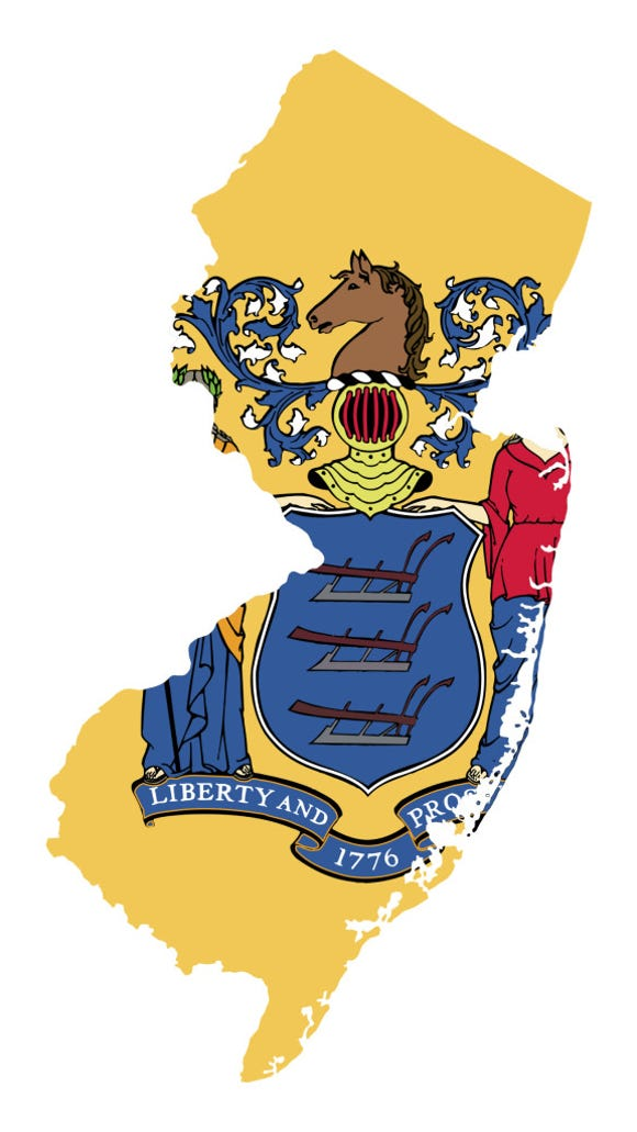 State of New Jersey flag map
