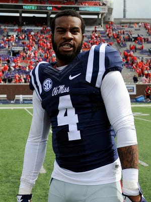 Ole Miss Rebels linebacker Denzel Nkemdiche (4) after the game against the New Mexico State Aggies at Vaught-Hemingway Stadium.