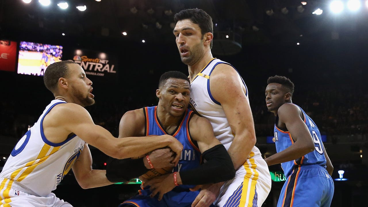 Zaza Pachulia collided with Russell Westbrook toward the end of the first half of the Warriors-Thunder game on Wednesday night.